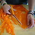 2. Cutting bag into strips