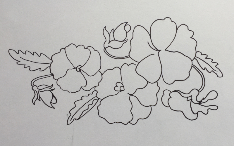 Pansies outline