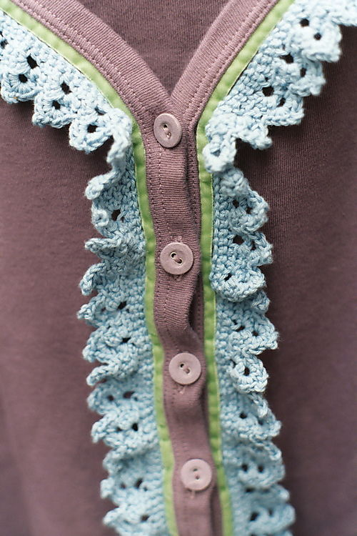 Crochet and knitting: Crochet trim on cardigan